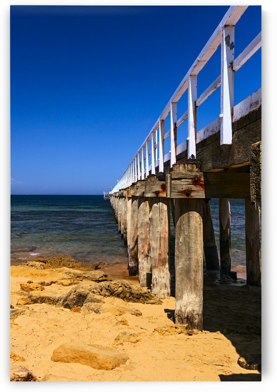 Jetty at Point Lonsdale with Blue Sky and Golden Sand B011200_1217555 by Maxwell Jordan