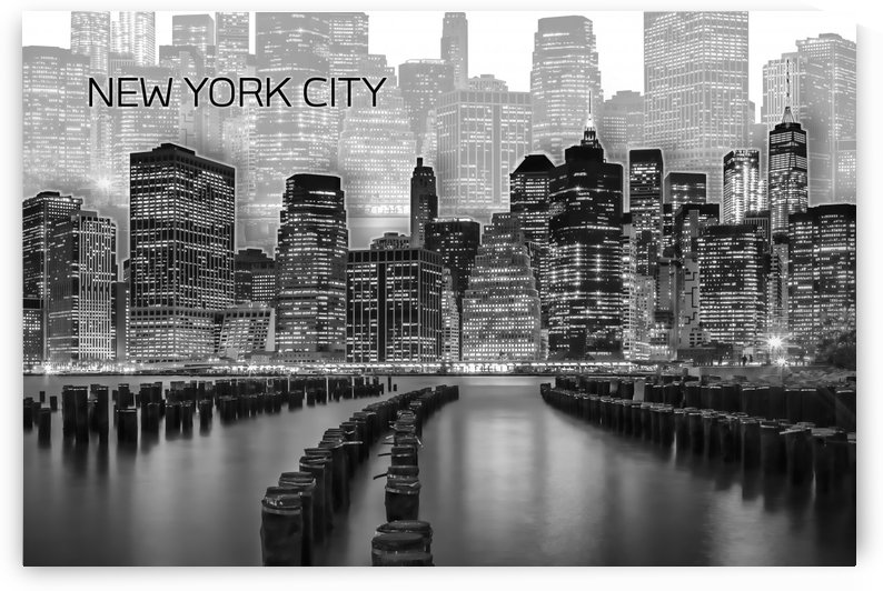 MANHATTAN Skyline | Graphic Art | white by Melanie Viola