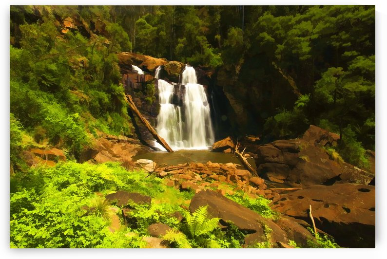 Waterfall with Green Ferns Digital painting C010300_1114896 by Maxwell Jordan