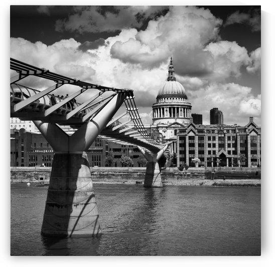 LONDON Millennium Bridge and St Paul's Cathedral | Monochrome by Melanie Viola
