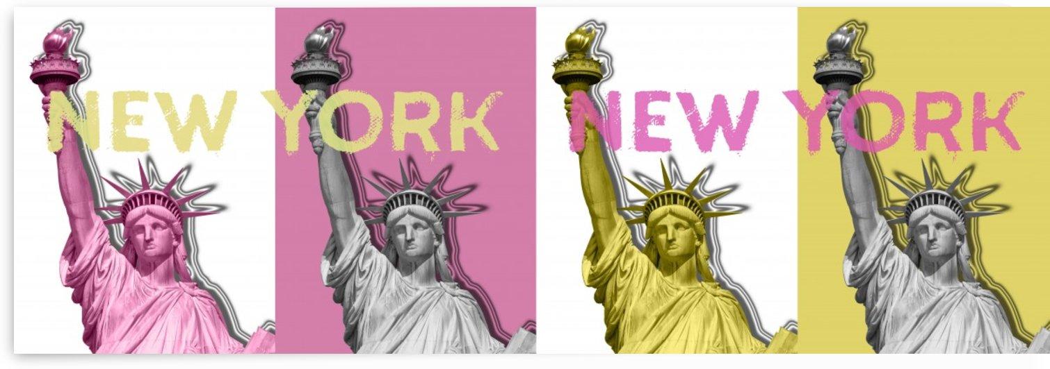 POP ART Statue of Liberty | New York New York | panoramic by Melanie Viola