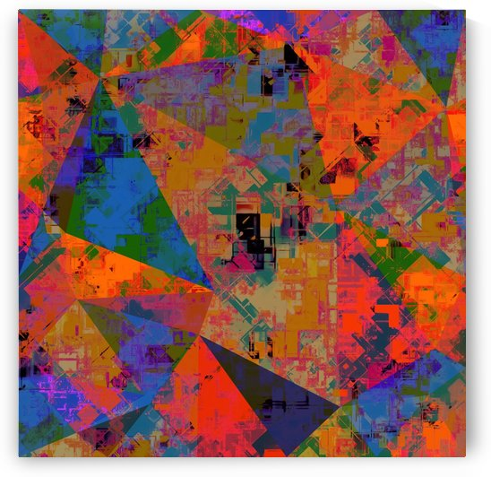 psychedelic geometric triangle pattern abstract with painting abstract background in orange and blue by TimmyLA