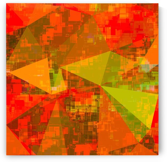 psychedelic geometric triangle pattern abstract with painting abstract background in green brown orange by TimmyLA