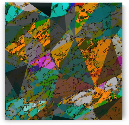 psychedelic geometric triangle pattern abstract with painting abstract background in orange green pink by TimmyLA