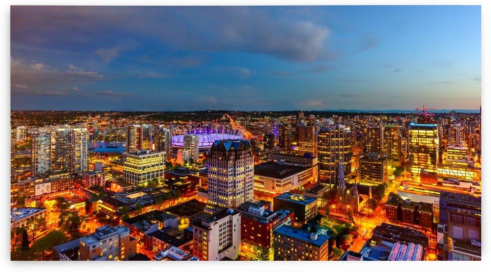 Shoot from above the beautiful twilight in metropolis by Viktor Birkus