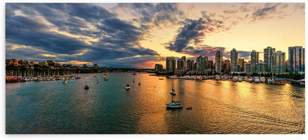Shoot from above the beautiful twilight in metropolis near the ocean by Viktor Birkus