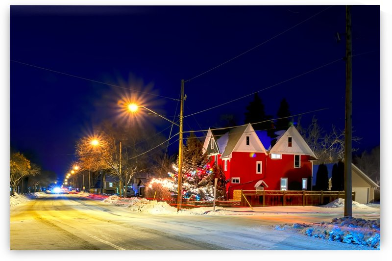 Frosty, snowy night before Christmas in a small town by Viktor Birkus