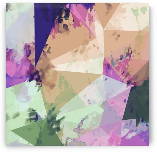 psychedelic geometric triangle polygon pattern abstract in pink green brown blue by TimmyLA