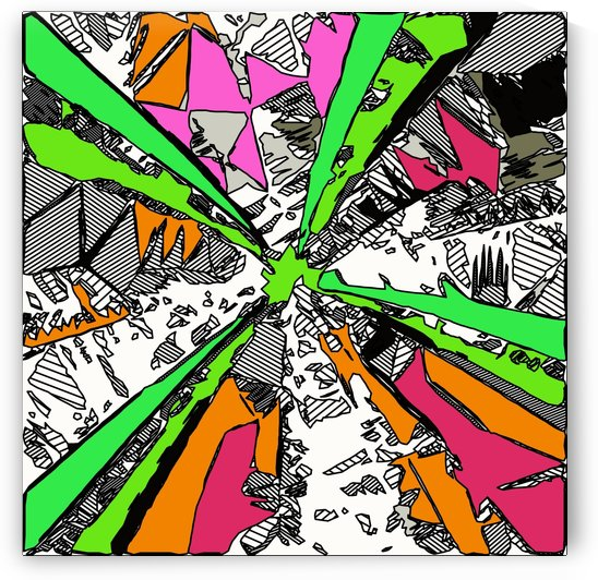 geometric splash drawing and painting abstract background in green orange pink red by TimmyLA