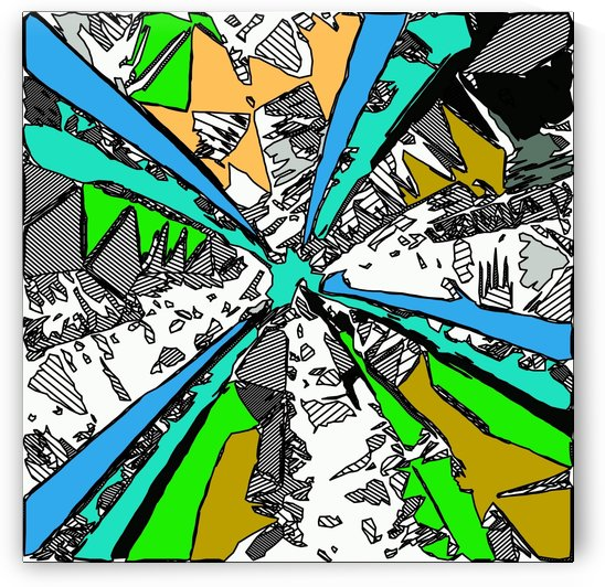 geometric splash drawing and painting abstract background in blue green brown by TimmyLA