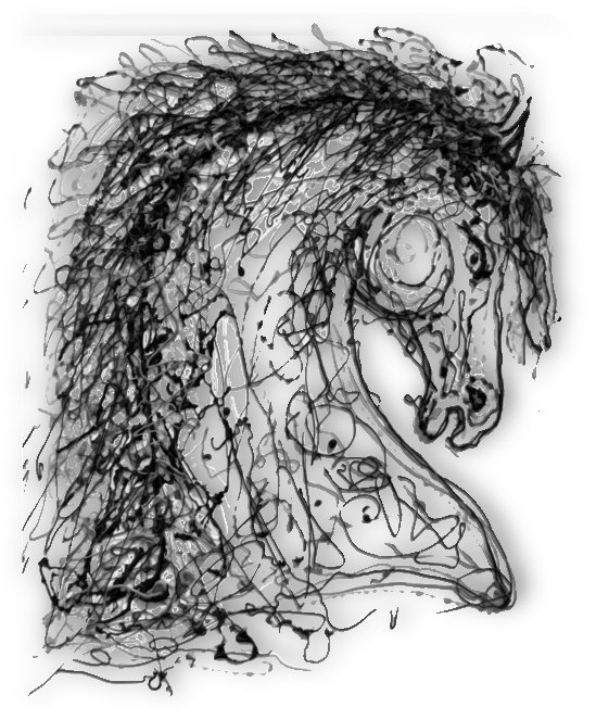''Horse''  Inspired by Dripped Abstract Pollock Style  by OLenaArt