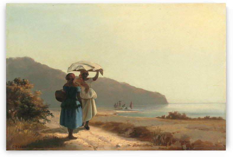 Deux femmes causant au bord de la mer Saint Thomas 1856 by Camille Pissarro
