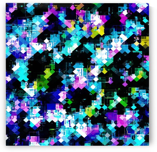 psychedelic geometric square pixel pattern abstract background in blue pink yellow by TimmyLA