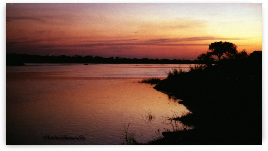 Bots Sunset Kasane river 1991 by Eric and Pam Schmidt