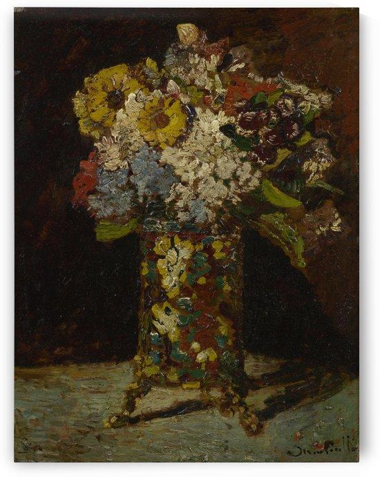 Vaas met bloemen by Adolphe Monticelli