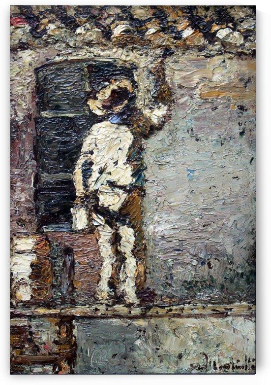 Anstreicher an einer Hauswand anagoria by Adolphe Monticelli