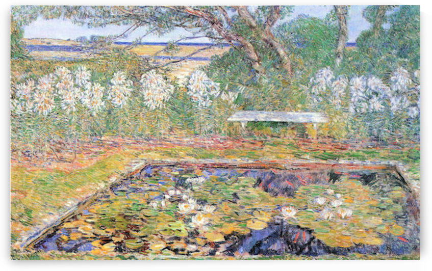 A garden on Long Island by Hassam by Hassam