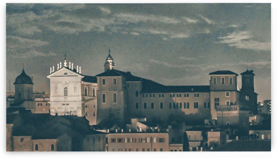 Night Scene Rome Cityscape Aerial View by Daniel Ferreia Leites Ciccarino