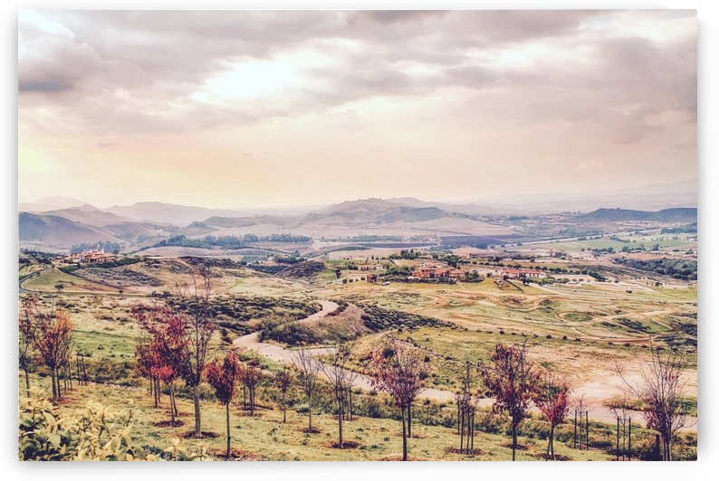 countryside view with sunset sky and green field with mountain view by TimmyLA
