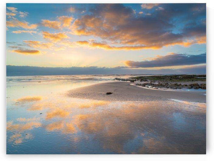 Beach sunrise reflected on the wet sand by Grant Cookson