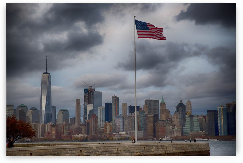 NYC Skyline with American Flag by Kaye