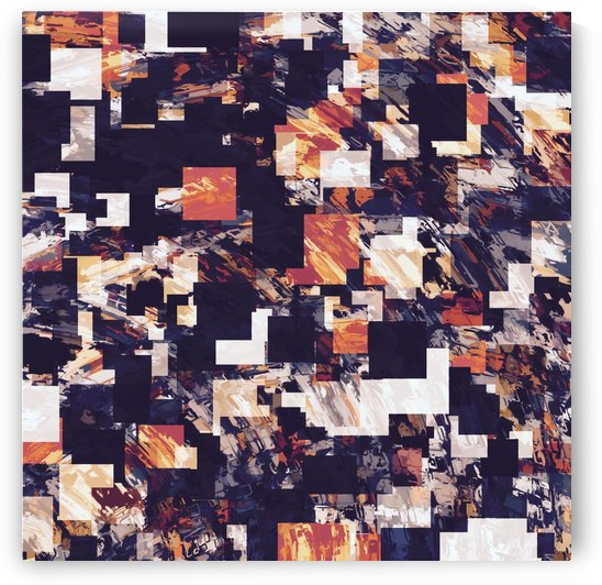 vintage psychedelic geometric square pixel pattern abstract in brown orange black by TimmyLA