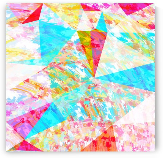 psychedelic geometric triangle polygon pattern abstract in blue pink yellow by TimmyLA