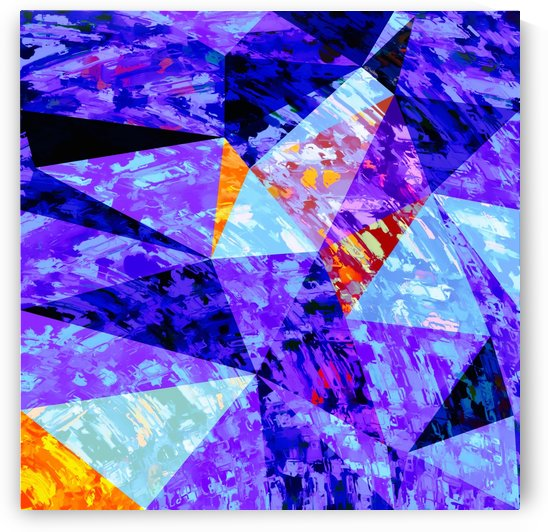 vintage psychedelic geometric triangle polygon pattern abstract in purple blue orange by TimmyLA