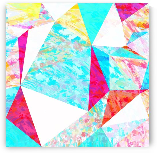 psychedelic geometric triangle polygon pattern abstract in blue pink yellow orange by TimmyLA