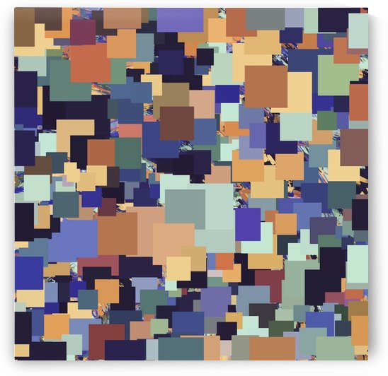 vintage geometric square pixel pattern abstract in brown blue purple by TimmyLA
