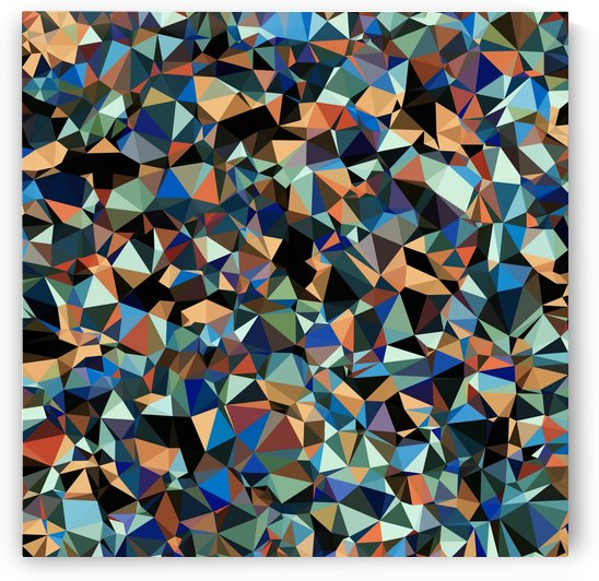 vintage psychedelic geometric triangle polygon pattern abstract in brown blue green by TimmyLA