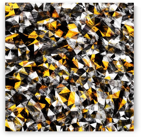 vintage psychedelic geometric triangle polygon pattern abstract in gold yellow and black by TimmyLA