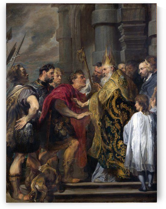 Saint Ambrose barring Theodosius I from Milan Cathedral by Anthony van Dyck