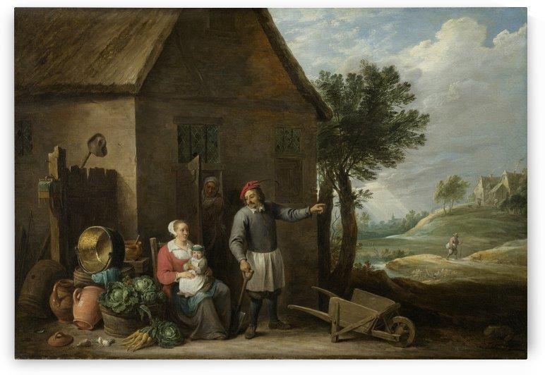 Een boer met zijn vrouw en kind voor de boerderij by David Teniers the Younger