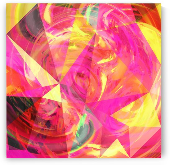 psychedelic geometric triangle polygon pattern abstract in pink and yellow by TimmyLA