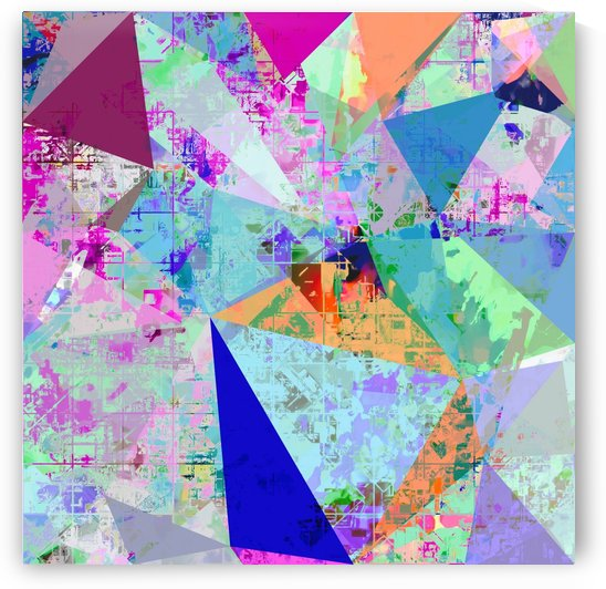 vintage psychedelic triangle polygon pattern abstract in blue pink green yellow by TimmyLA
