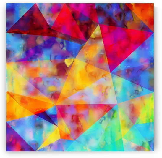 vintage psychedelic triangle polygon pattern abstract in orange yellow red blue purple by TimmyLA