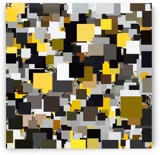 vintage psychedelic geometric square pixel pattern abstract in yellow brown and black by TimmyLA