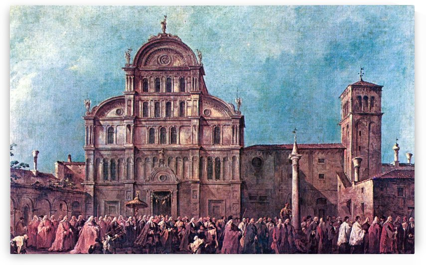 La Procession du doge de Venise a San Zaccaria by Francesco Guardi