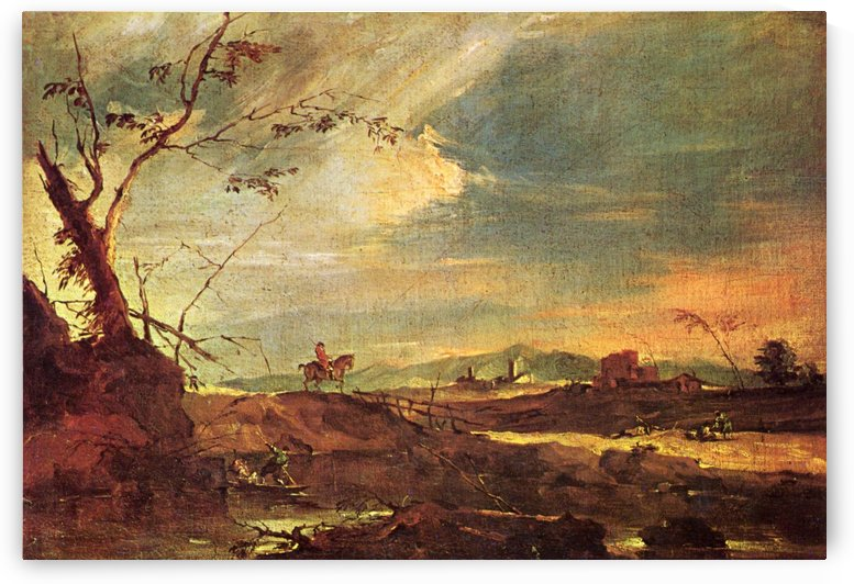 Landschaft mit Reiter by Francesco Guardi