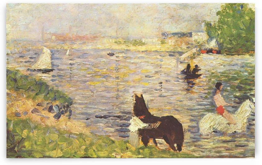 Weises und schwarzes Pferd im Flus by Georges Seurat