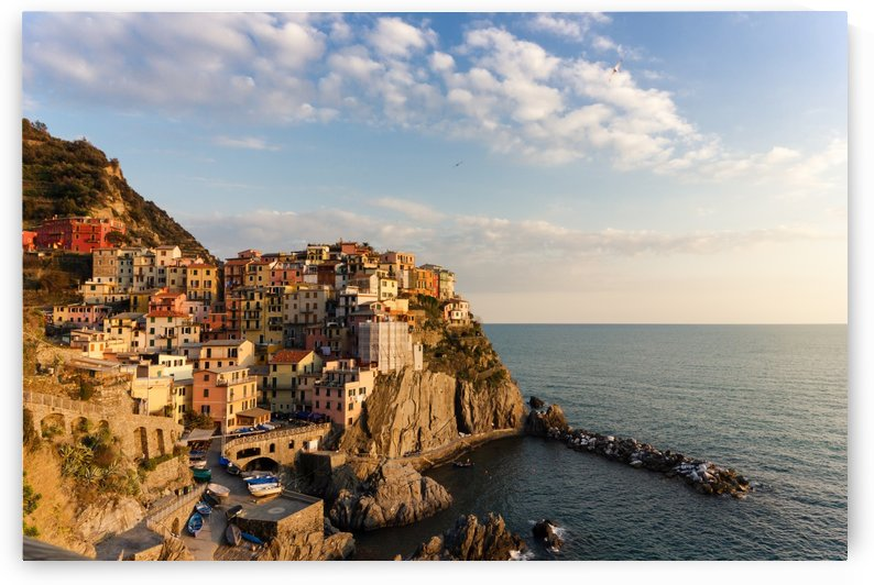 Sunset over the cliff of Manarola Cinque Terre Italy by Besa Art