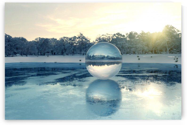 crystal ball on frozen lake by Besa Art
