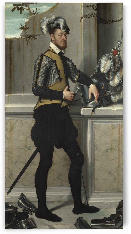 A Knight with his Jousting Helmet by Giovanni Battista Moroni