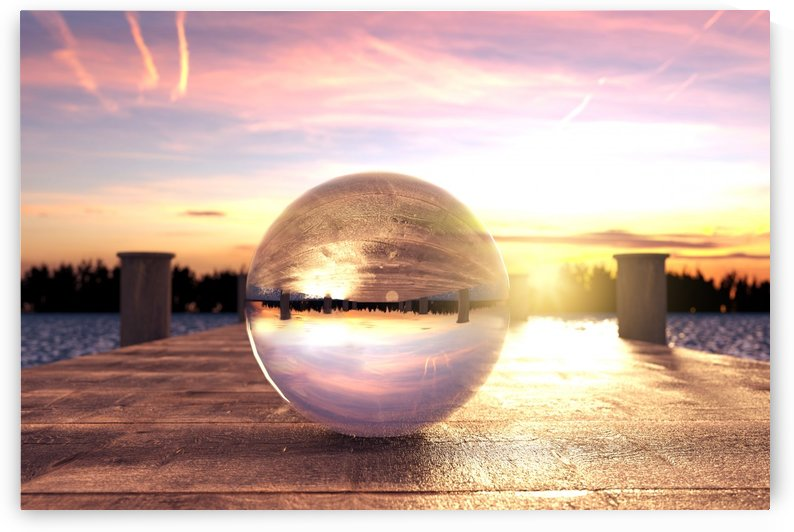 cristal ball on wooden bridge by Besa Art