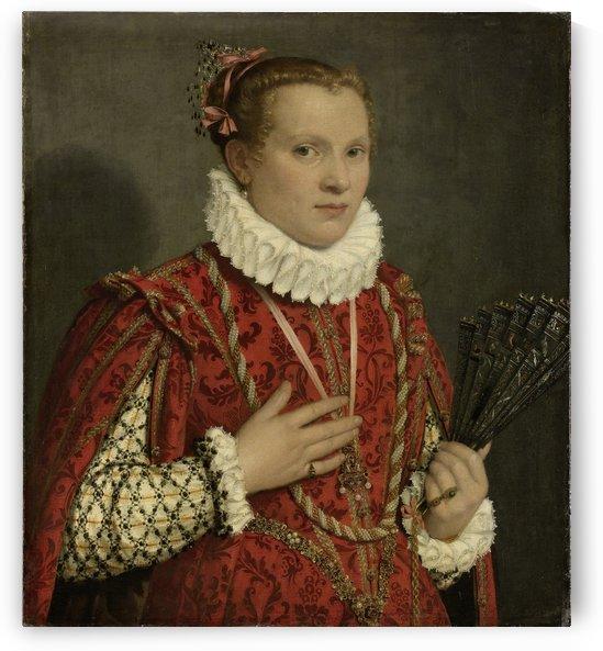 Portret van een jonge vrouw by Giovanni Battista Moroni