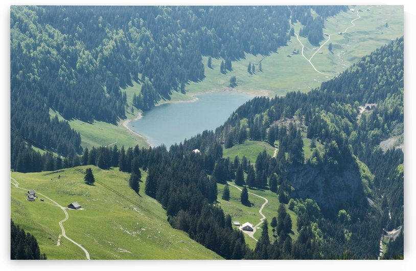aerial view to the mountain lake Seealpsee at the alpstein massif by Besa Art