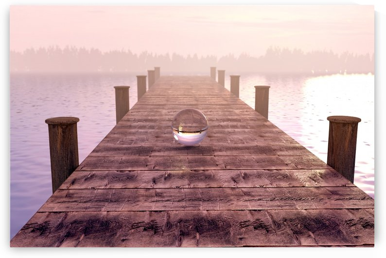 cristal ball on wooden bridge in the fog by Besa Art