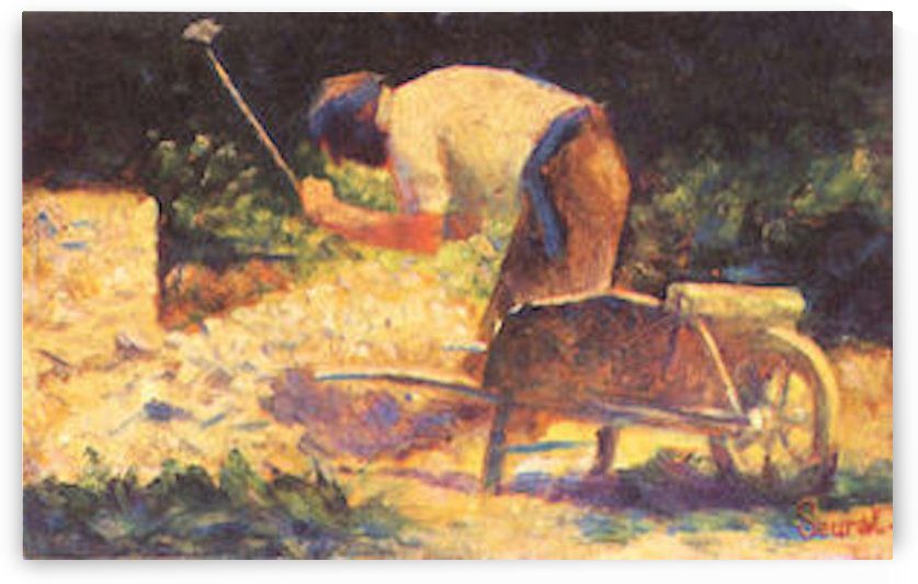 Weed knocking with wheelbarrow by Seurat by Seurat
