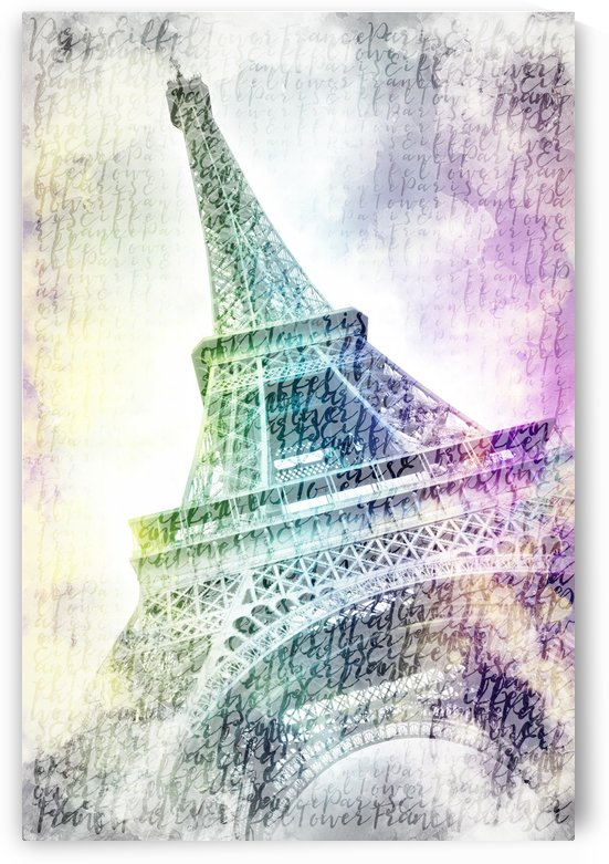 PARIS Watercolor Eiffel Tower | rainbow-colored by Melanie Viola